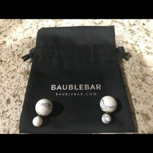 Baublebar marble front and back stud earrings